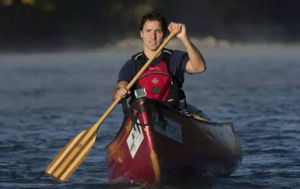 Trudeau on a boat